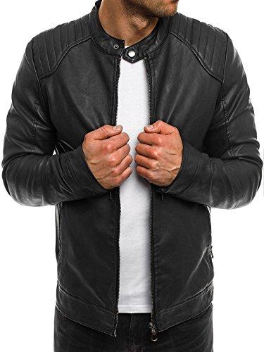 OZONEE Herren Übergangsjacke Jacke Bikerjacke Kunstlederjacke Sweats Sweatjacke Faux Leder Frühlingsjacke STEGOL 918 Schwarz