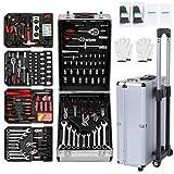 YESPER 629 Teilige Alu Werkzeugkoffer mit Werkzeug bestückt, Universal Werkzeugkasten, Werkzeugtrolley im praktischen Koffer mit hochwertigen Arbeitshandschuhe