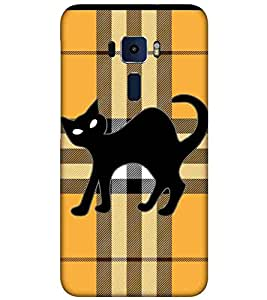 For Asus Zenfone 3 ZE520KL (5.2 Inches) black cat ( black cat, check pattern, yellow pattern, pattern, cart, dangerous cat, nice cat, nice pattern ) Printed Designer Back Case Cover By FashionCops
