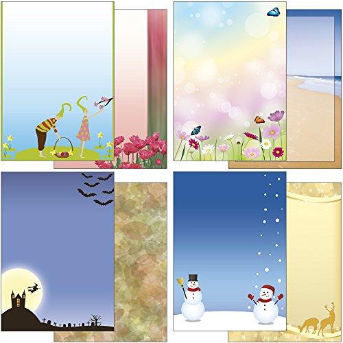 ahreszeiten Weihnachten Winter Blumen Landschaft - Mix 8x3 Blatt Briefpapier und 8x2 Briefumschläge Set JZ-Mix1 ()
