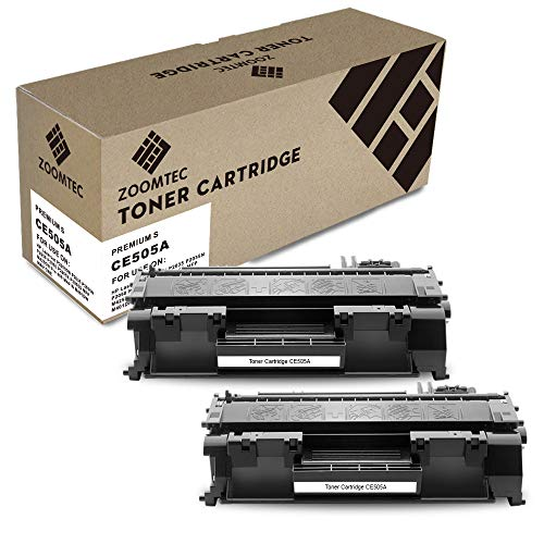 ZOOMTEC Compatible Toner CE505A 05A para HP Laserjet P2030 P2035 P2035N P2050 P2055 P2055D P2055DN P2055X, Compatible Toner ce505a,(2 Negro, 2300 Pages)