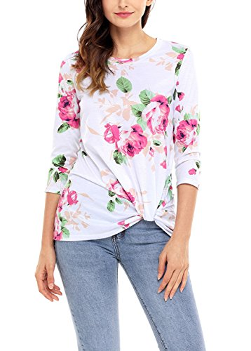 Nicetage Langarmshirt Damen T Shirt Blumen Rundhals Pullover Bluse Oberteil Tops 03-Weiss+Dunkelrosa
