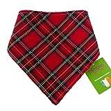 Dimples Hundehalstuch - Schottenkaro rot (Handgemacht für alle Größen und Rassen) 25cm