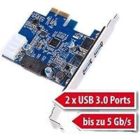tinxi® 2 Port 3.0 scheda di interfaccia PCI Express Card PC Card Controller Hub Carta (Carta Usb)