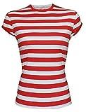 Rojo Rayas Blancas Wally Elástico Manga Japonesa Camiseta Talla S M L - Multicolor, Chica a Grande