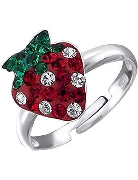 So Chic Schmuck - Verstellbarer Kinderring Erdbeer Kristall Rot Grün Sterling Silber 925