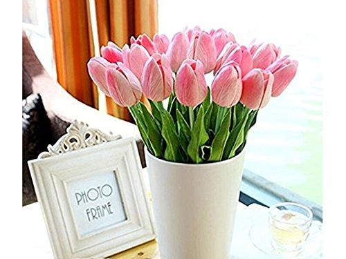 Blume mit Blättern für Hochzeits-Blumenstrauß Dekoriere Kunstblumen in 7 Farben (hell rosa, 6)