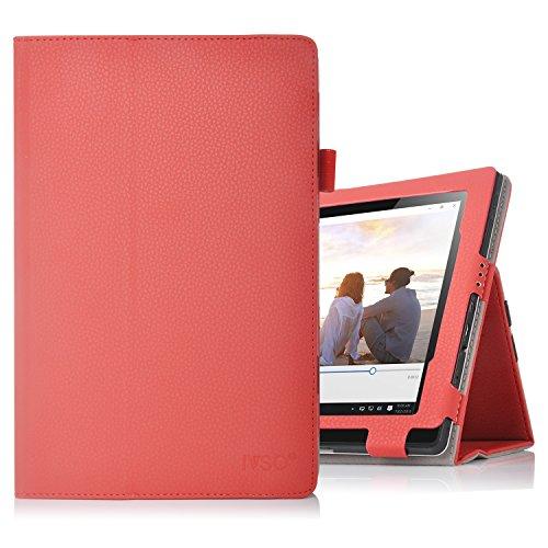IVSO Lenovo Miix 310 hülle, hochwertiges PU Leder Etui hülle Tasche Case - mit Standfunktion,super 360° Anti-Wrestling, ist für Lenovo Miix 310 25,65 cm (10,1 Zoll HD) Tablet PC perfekt geeignet, Rot