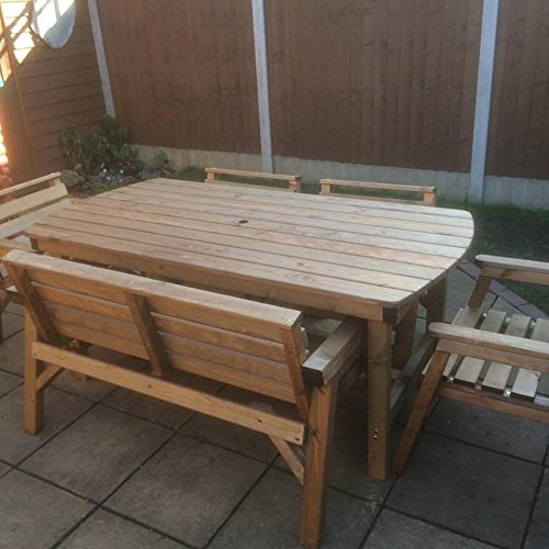 6' Table 1 Bench & 4 Chairs. Solid Wooden Garden Furniture Set. * SUPER STURDY *