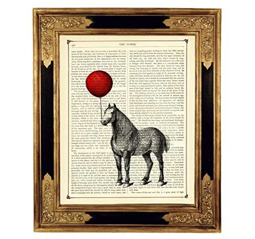 (Pferd Luftballon Pony Steampunk Kunstdruck auf viktorianischer Buchseite Geschenk Mädchen Bild Poster ungerahmt)