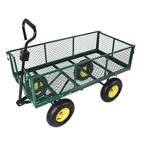 Tinke carrello da giardino in metallo resistente carrello da giardinaggio in metallo pieghevole carrello da giardino pieghevole carrello verde da 48