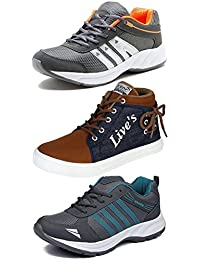 Ethics Perfect Combo Of 3 Premium Sneakers & Running Shoes For Men