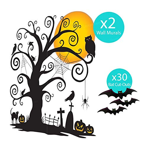 B-Creative Premium Halloween Cemetery Wall Szene Setter Party Decoration Kit gotische Friedhofs ()