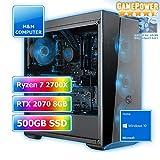 M&M Computer High End Gamer Wasserkühlung RGB, AMD Ryzen 7 2700X CPU AM4, VGA GeForce RTX2070 8GB Gaming, 480GB SSD, 16GB DDR4 RAM, Gigabyte Aorus Mainboard, Windows 10 Home