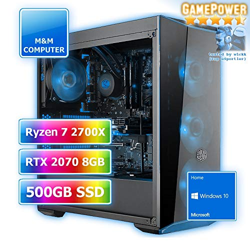 Gamer Wasserkühlung RGB, AMD Ryzen 7 2700X CPU AM4, VGA GeForce RTX2070 8GB Gaming, 480GB SSD, 16GB DDR4 RAM, Gigabyte Aorus Mainboard, Windows 10 Home ()