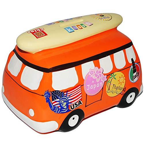 alles-meine.de GmbH XL - Spardose -  Auto / Bus - mit Surfbrett - orange  - incl. Schlüssel - stabile Sparbüchse aus Porzellan / Keramik - Sparschwein - für Kinder & Erwachsene..
