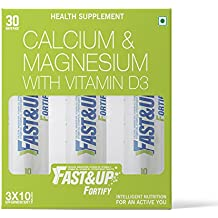 Fast&Up Fortify- Calcium & Magnesium Supplements, 30 Effervescent Calcium Tablets, Elemental Calcium Supplements For Bone Health