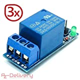 AZDelivery ⭐⭐⭐⭐⭐ 3 x 1-Relais 5V KY-019 Modul Low-Level-Trigger für Arduino