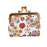 Hot Women Wallet,Kycut Girls Printing Flower Snacks Coin Purse Wallet Bag Change Key Holde Pouch(White)
