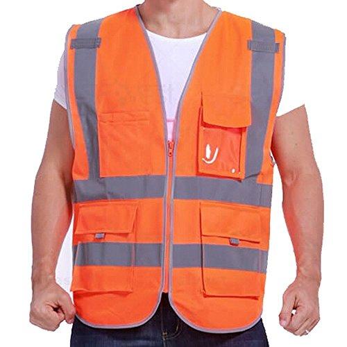 Giubbotto di Sicurezza da Lavoro con Alta Visibilità Arancione XL