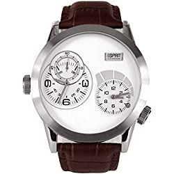 Esprit Men's Collection Quartz Wristwatch with Silver Dial Analog Display and Brown Leather Strap EL101271F02