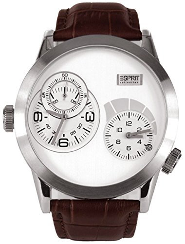 esprit-mens-collection-quartz-wristwatch-with-silver-dial-analog-display-and-brown-leather-strap-el1