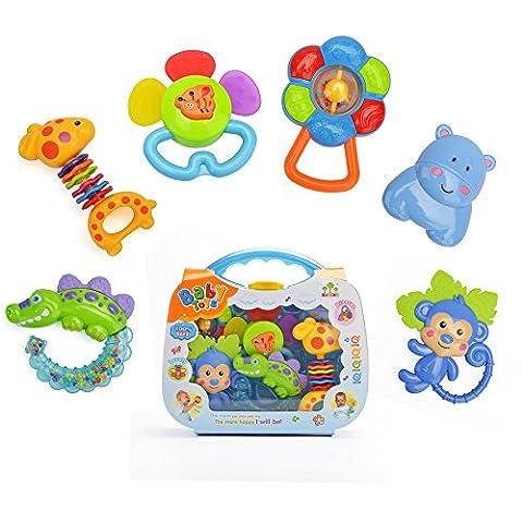6 Stück Bunte Baby Tier Rasseln Erste Teether Spielzeug Geburtstag Geschenk mit einem blauen Kleinkind Koffer von Beby