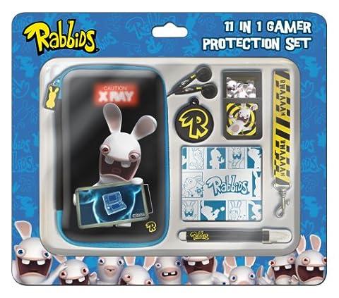GameOn Raving Rabbids 11PC 3D Protection SET Pack d'Accessoires Console compatible Nintendo 3DS