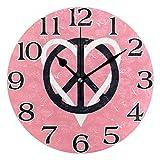 linomo - Reloj de Pared con símbolo de la Paz y el Amor, silencioso, Redondo, silencioso,...