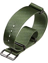 Bracelet de montre militaire G10 NATO en nylon par ZULUDIVER, Boucles IP PVD Noir, Vert, 20mm