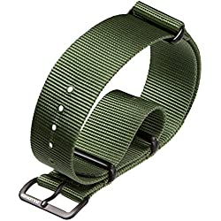 NATO G10 Military Watch Strap by ZULUDIVER, PVD Black, Green, 18mm