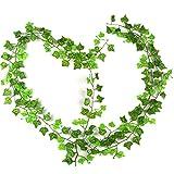 RayLineDo® Packung mit 12 Stück 7.87ft Artificial Boston Efeu grüne Rebe Blatt Garland Pflanzen Gefälschte Laub Blumen-Dekoration