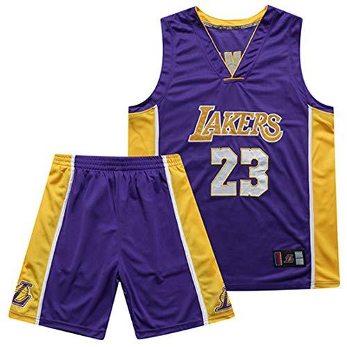 WWJIE LAKERS, Basketballanzug, atmungsaktiv, schnelltrocknend, 23, 24, James, Kobe-Anzug (lila)-3-S