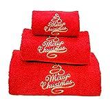 BgEurope Natale set di 3asciugamani da bagno ricamato rosso–ref. Merry Christmas