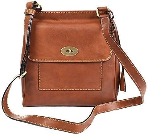 Gianni Conti Medium Tan Fine Italian Leather Satchel Crossbody Bag 914064