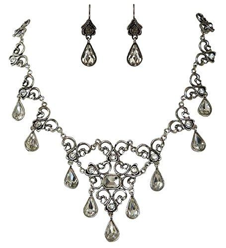 Trachtenschmuck Dirndl Collier Set - Crystal klar - Antikschmuck Replikat - Kette und Ohrhänger