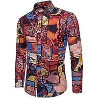 WULIFANG Camisa De Hombre Algodón Camiseta Twist Discoteca Sección Delgada De Lino Camisa Manga Larga Camisa Impresión De Flores Rojo XXL