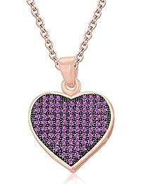 Silvernshine LADIES 10K Rose GOLD FN PINK SAPPHIRE SIM DIAMOND LOVE HEART SHAPE PENDANT NECKLACE