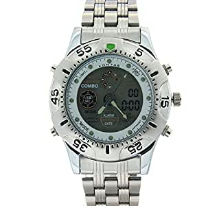 KONTAS Casual Dual Display Stainless steel Unisex Sports Watches