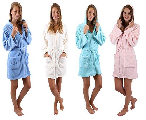 Betz Bademantel Morgenmantel Saunamantel Damen mit Kapuze und Reißverschluss Farben creme, türkis, pink und blau Größen XS - L Größe L - türkis
