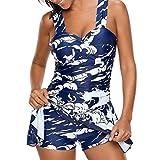 SEWORLD Damen Sommer Mode Frauen Tankini Sets mit Jungen Shorts Damen Bikini Set Bademode Hochdrücken Gepolsterter BH(Blau,EU-44/CN-XL)