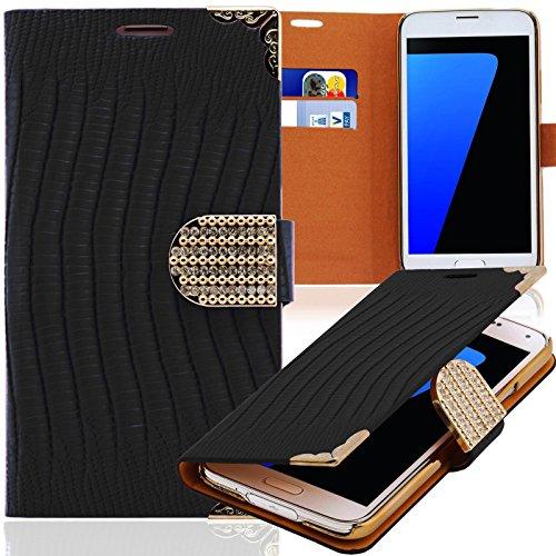 Luxus Strass Handy Tasche Schutz Hülle für Samsung Galaxy Note Edge SM-N915F Schwarz Book-Style Leder Etui Glitzer Case Cover Bag