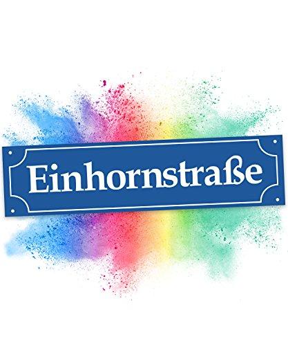 Einhhorn Münchner Straßenschild - Einhornstraße (40 x 10cm), Süße Wand-Deko, Türschild für Mädels-Wohnung und Mädchen-Zimmer, Geschenkidee Einweihungsparty und Geburtstagsgeschenk beste Freundin