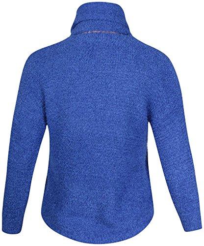 femmes grande taille Ladies manches longues ourlet asymétrique écharpe tricot queue PULL Bleu Roi