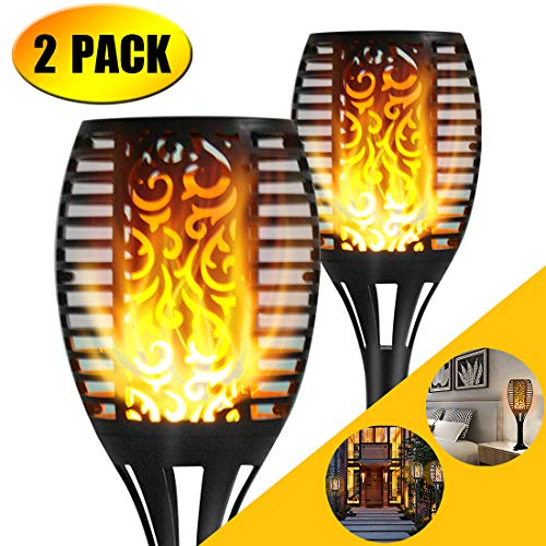 Luci Giardino Solari, 96 LED Flickering Flame Lights Garden Pathways/Yard Outdoor Landscape Decoration Dancing Flame Lighting (2 pack)