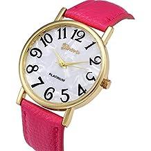 Relojes Pulsera Mujer,Xinan Digital Retro Dial Cuero Banda Relojes de Cuarzo (Rosa Caliente)