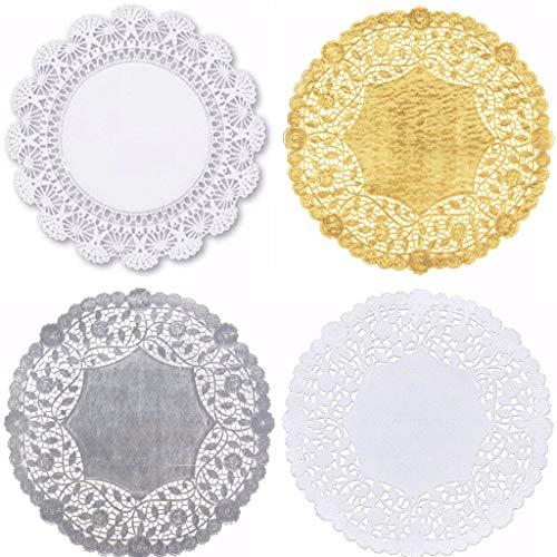 Paquete de 40 blandos de encaje de papel redondo, color blanco, negro, plata, oro, 12 pulgadas, colores surtidos (10 de cada uno)