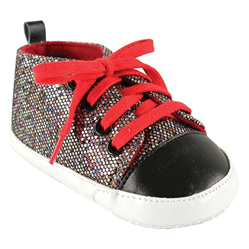 Luvable Friends Sparkly Sneaker (Infant), Multi Colored with Red Laces, 6-12 Months M US Infant