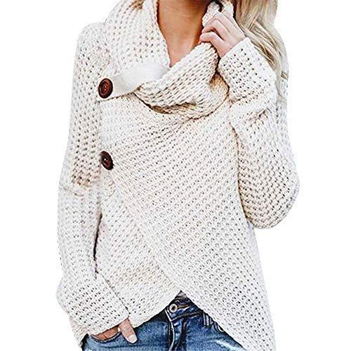 iHENGH Damen Herbst Winter Übergangs Warm Bequem Slim Mantel Lässig Stilvoll Frauen Langarm Solid Sweatshirt Pullover Tops Bluse Shirt (Large, Weiß)