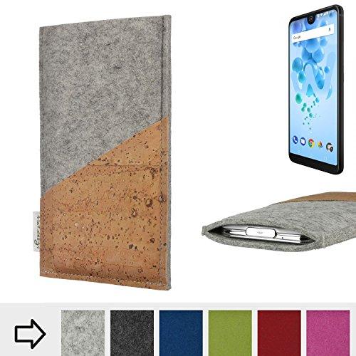 flat.design Handytasche Evora mit Korktasche für Wiko View 2 PRO - Schutz Case Etui Filz Made in Germany in hellgrau mit Korkstoff - passgenaue Handy Hülle für Wiko View 2 PRO